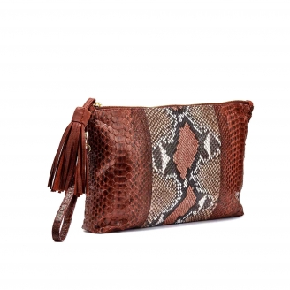Pochette Python Andy Rose Painted