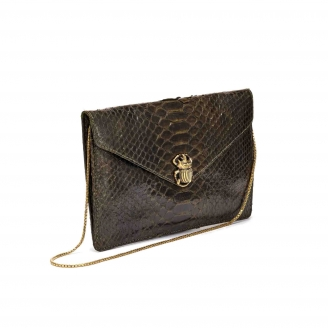 Dark Kaki Python Card Holder Big Alex