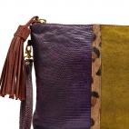 Clutch Python Andy Purple Leopard mustard suede