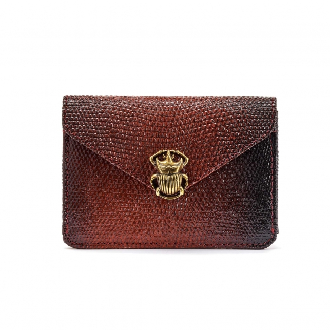 Gradation Burgundy Lizard Card Holder Alex