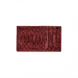 Burgundy Painted Python Card Holder JL