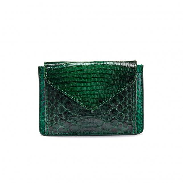 Green Python Card Holder Tess