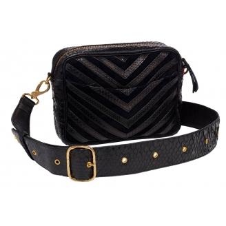 """Bag Python Kate """"V design"""" Black with strap"""