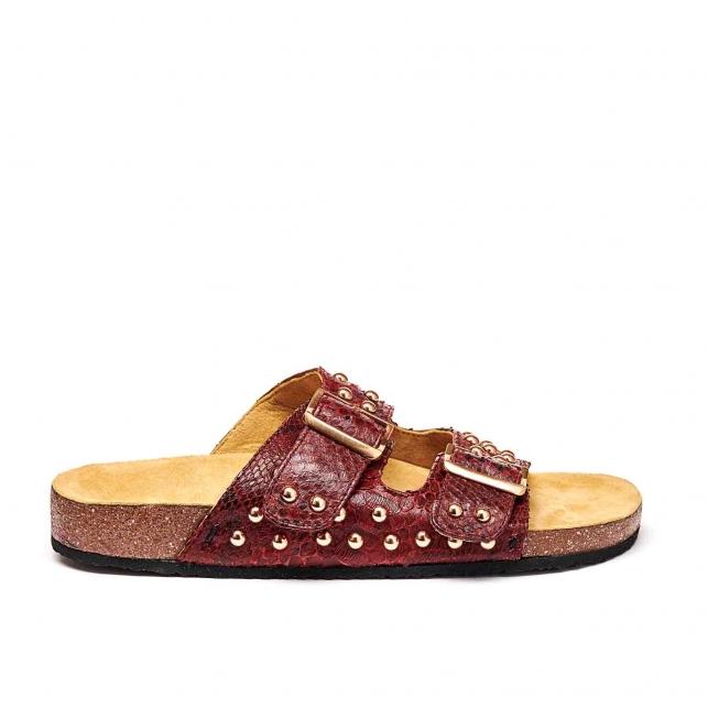 Sandals Odette Burgundy Gold Studs