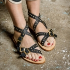 Black Python  Sandal Fanny