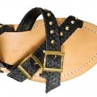 Sandales Python  Fanny Noir Cloutées
