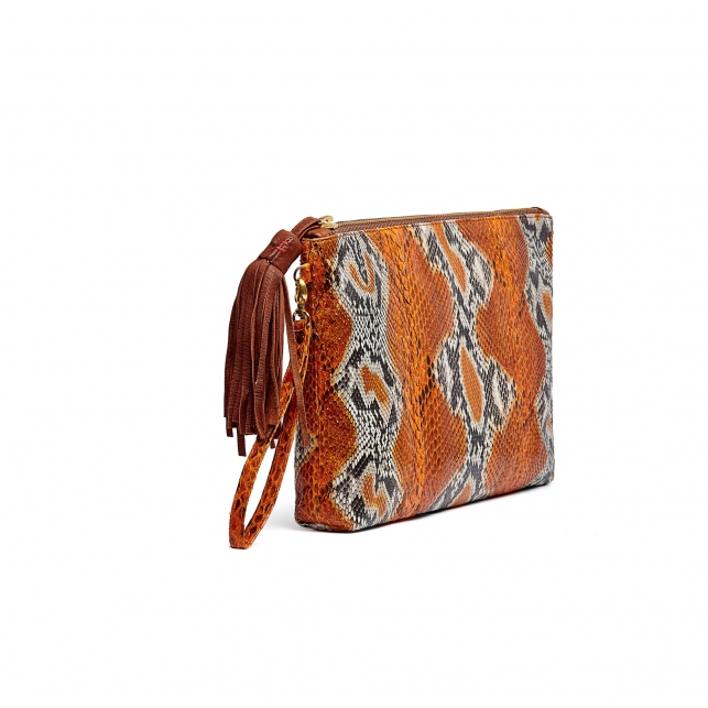 Python Clutch Andy Orange Painted