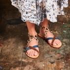 Tricolor Sandal Python Fanny