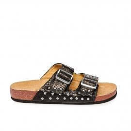 Sandals Python Odette Black Silver Studs