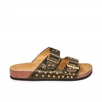 Sandales Python Odette Kaki Cloutées