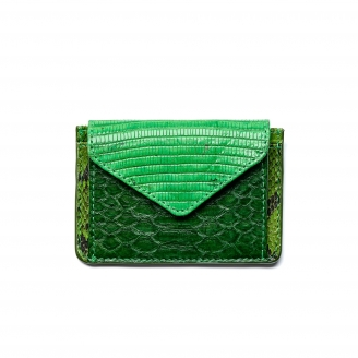 Green Mix Python Card Holder Tess