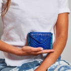 Blue Mix Python Card Holder Tess