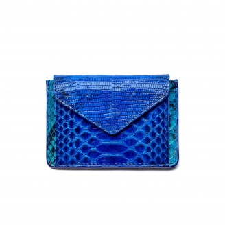Blue Mix Python Card Holder Tess