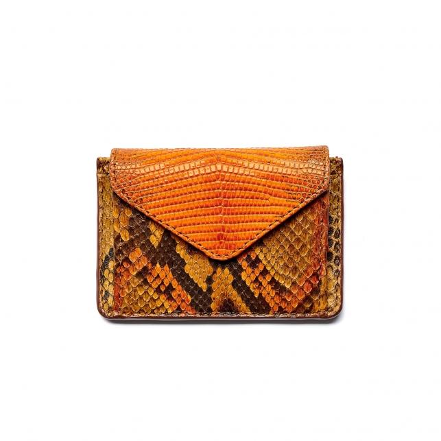 Orange Mix Python Card Holder Tess