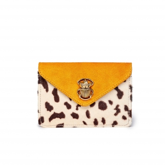 Porte Cartes Cuir d'Agneau Alex Leopard Orange
