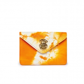 Orange T&D Lamb Skin Card Holder Alex