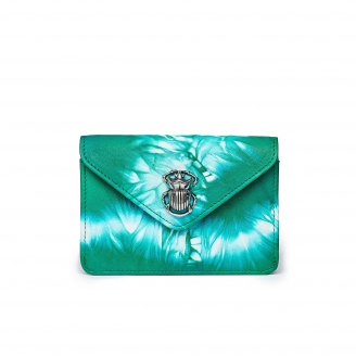 Green T&D Lamb Skin Card Holder Alex