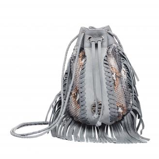 Stone Grey Python Fringes Bag Cheyenne