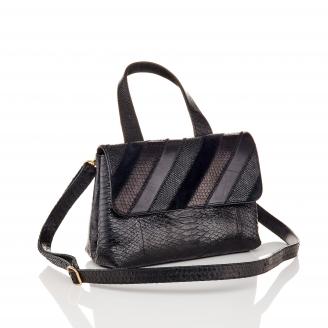 Black Patchwork Python Shoulder Bag Little Mimi