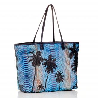 Palm Blue Python Tote Marny