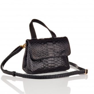 Black Lizard Shoulder Bag Baby Mimi