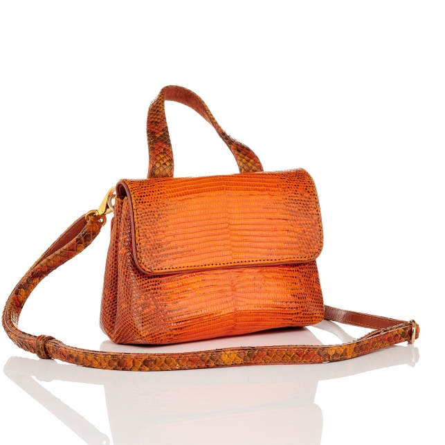 Orange Lizard Shoulder Bag Baby Mimi
