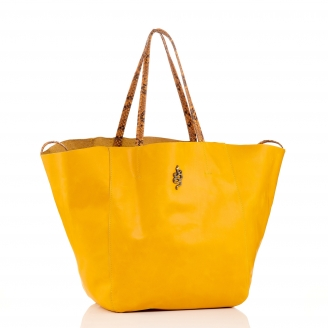 Yellow Lamb Leather Tote Felix