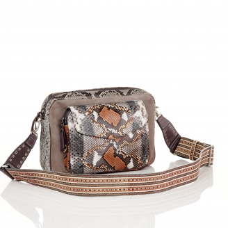 Stone Grey Python Bag Jumbo Charly With Shoulder Strap