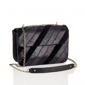 Black Patchwork Python Bag Big Ava