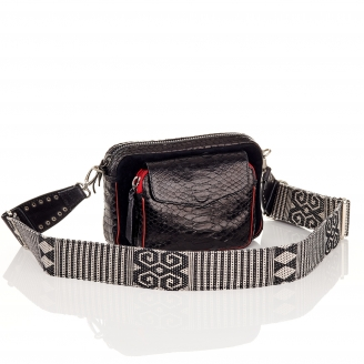 Black Charly Zip Charly Python Bag with Shoulder Strap