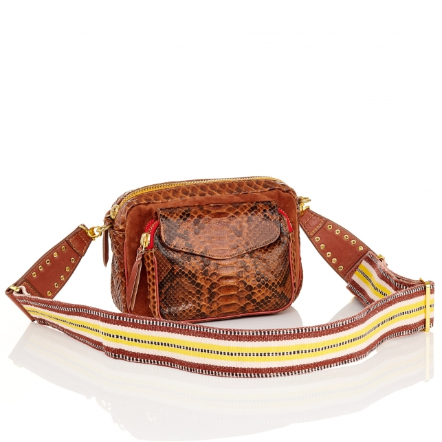 Moka Charly Zip Charly Python Bag with Shoulder Strap