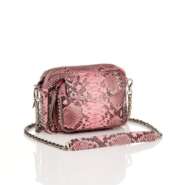 Pink Powder Python Bag Charly with studs