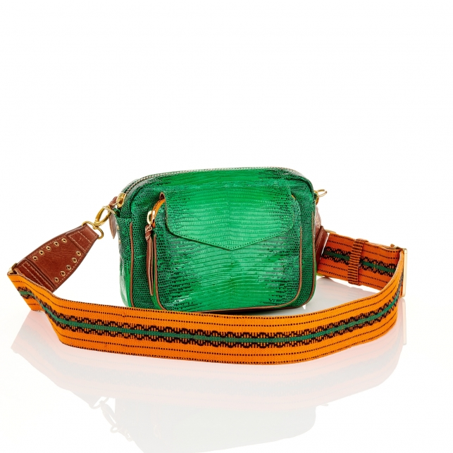 Bag Charly Lizard Apple Green with Strap