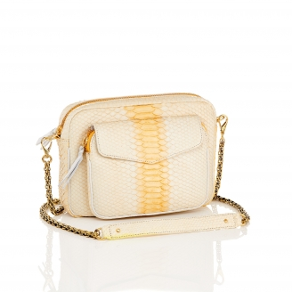 Cream Python Bag Big Charly Chain
