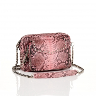 Pink Powder Studded Python Bag Big Charly with Chain