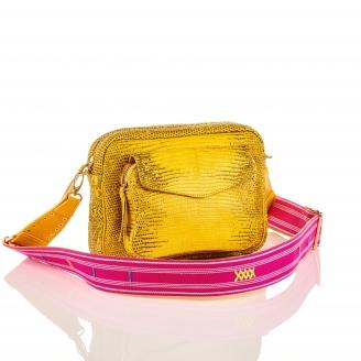 Lemon Yellow Lizard Bag Big Charly with Strap