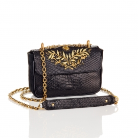 Python Bag Ava Black Embroidered