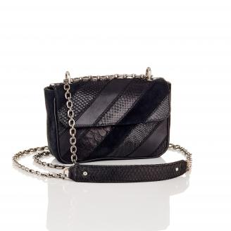 Black Patchwork Python Bag Ava