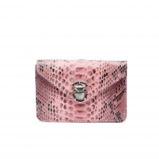 Powder Pink Python Card Holder Alex