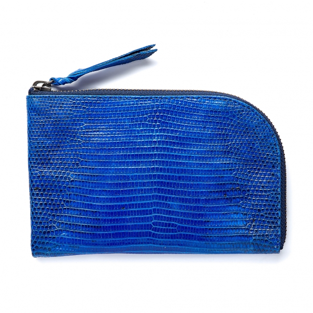 Majorelle Blue Lizard Mini Bob Wallet