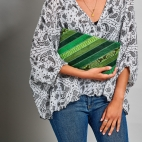 Green Patchwork Lizard Clutch Lou