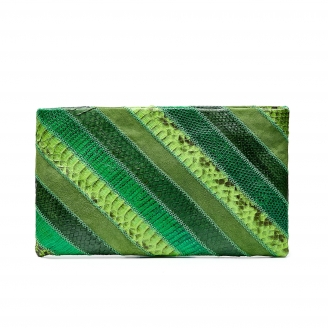 Green Patchwork Lizard Clutch Big Lou