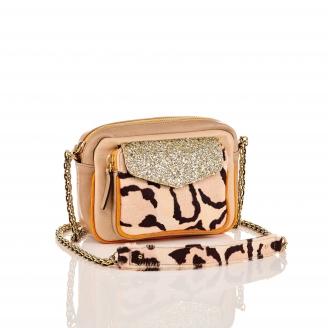 Sac Cuir d'Agneau Charly Leopard Glitter