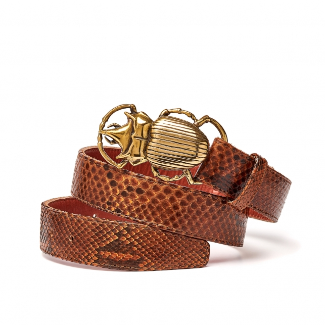 Moka Python Belt Beatle Gold Buckle