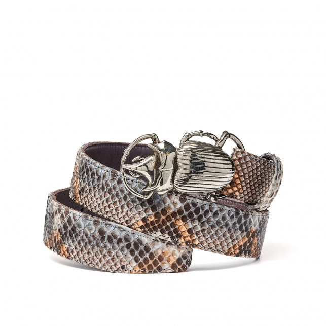 Stone Grey Python Belt Beatle