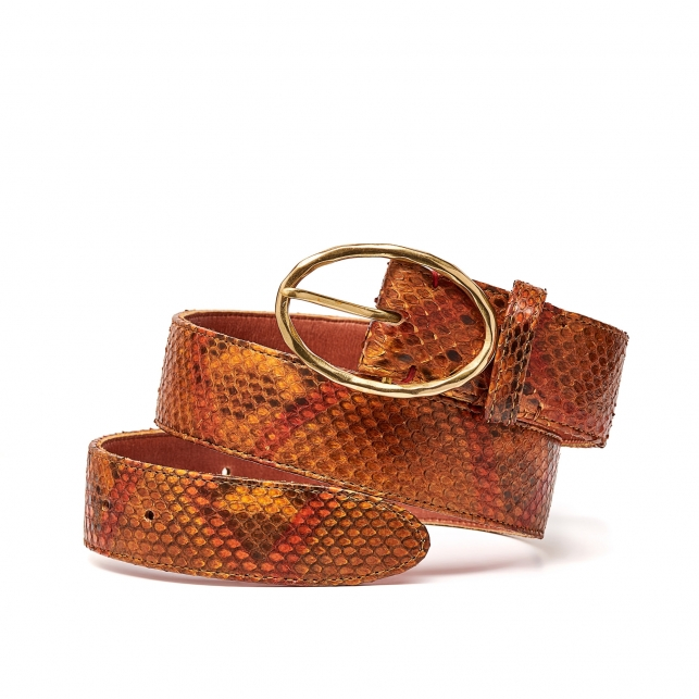 Moka Painted Python Belt Phoenix Gold Buckle