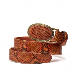 Moka Painted Python Dallas Belt Gold Buckle