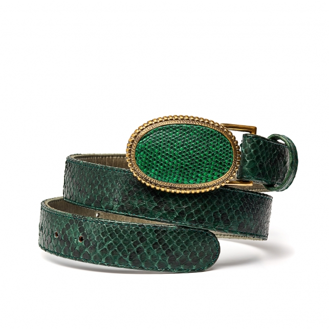 Matcha Apple Python Dallas Belt Gold Buckle