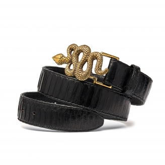 Black Python Snake Belt Gold Buckle