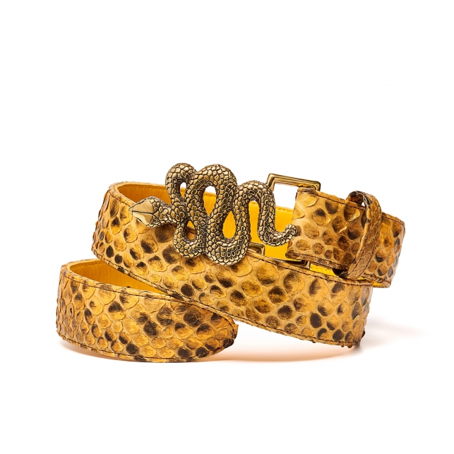 Honey Python Snake Belt Gold Buckle